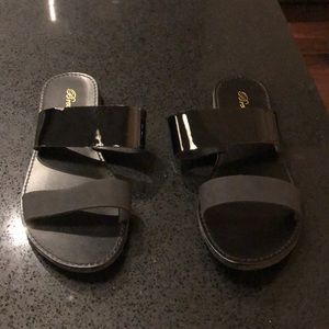NWOT Black double strap sandals - brand new